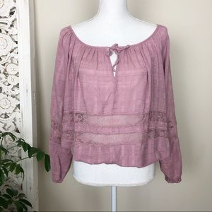 FREE PEOPLE 🎃pink linen lace balloon sleeve top